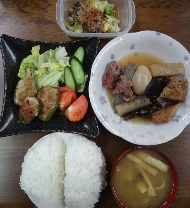 株式会社日食 今日のお昼ごはん ごはん 味噌汁 おでん ピーマンの肉詰め きゅうり トマト レタス 漬物
