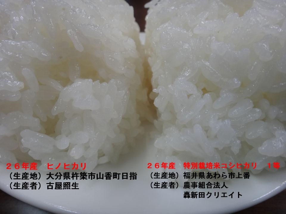 株式会社日食 今日のごはんの試食 26年産 ヒノヒカリ 特別栽培米コシヒカリ