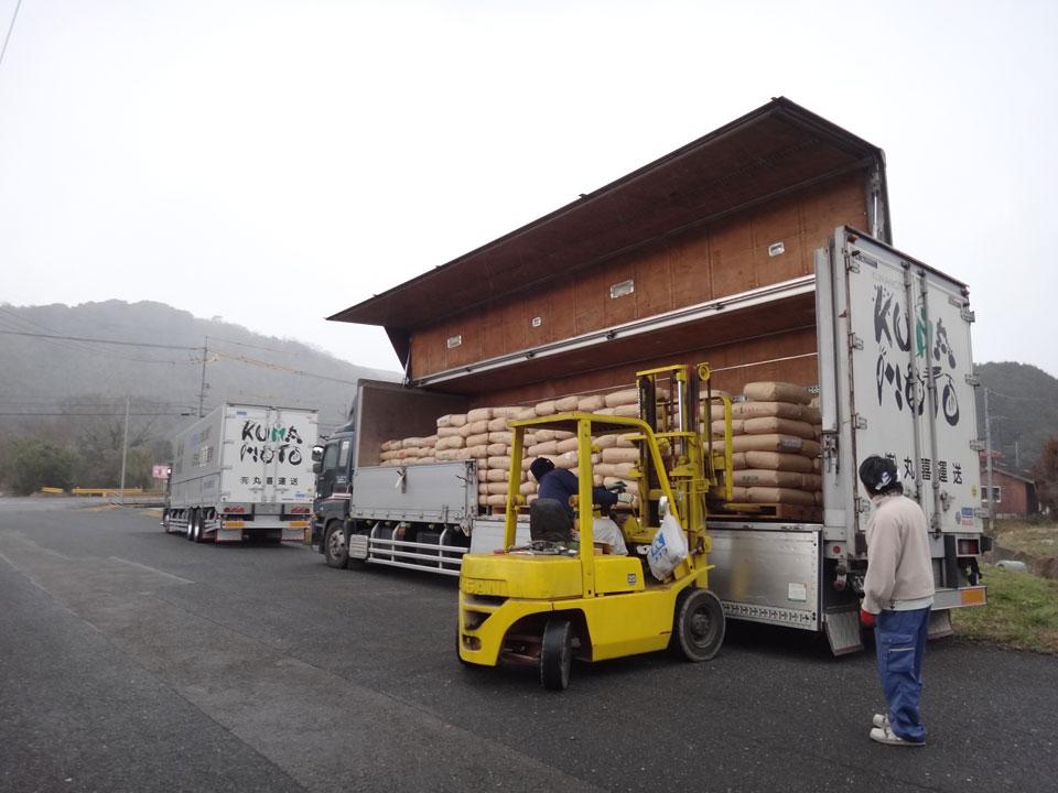 株式会社日食 山口県美祢市 26年産 屑米 焼酎用 はい積み はい崩し ㈲丸喜運送