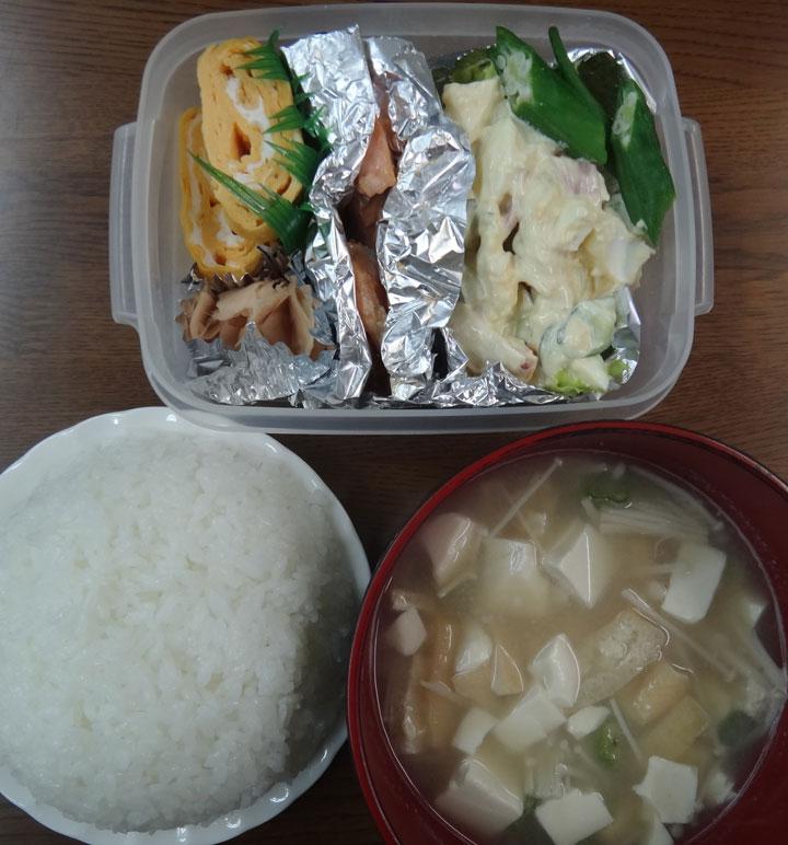 株式会社日食 今日のお昼ごはん ごはん 味噌汁 新生姜の甘酢漬け 玉子焼き 塩鮭 ポテトサラダ レタス