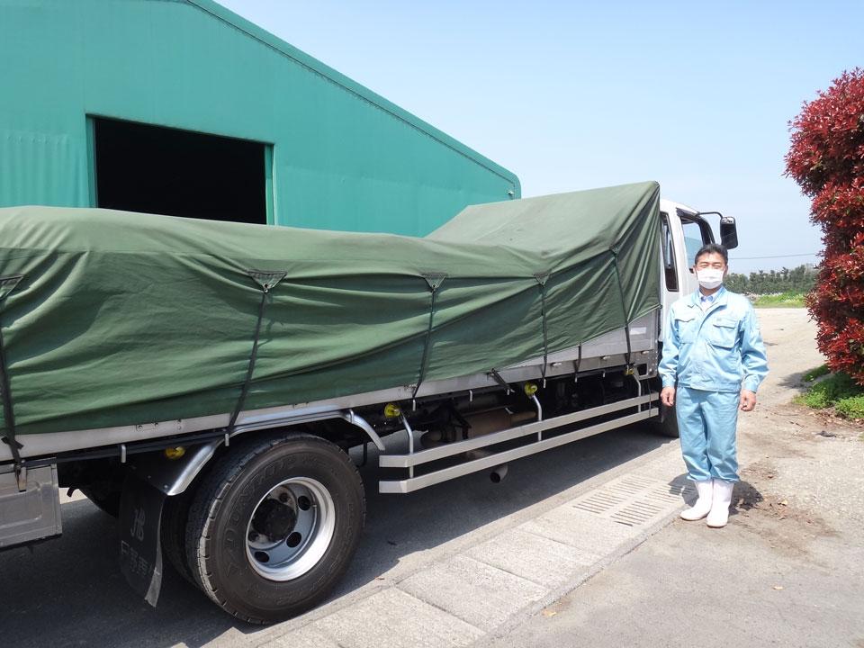 鹿児島県出水市でマルイ有機の積み込み