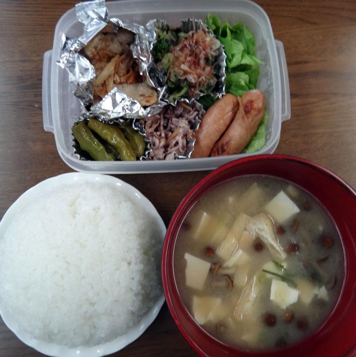 株式会社日食 今日のお昼ごはん ごはん 味噌汁 豚の生姜焼き イカゲソの煮物 ししとうの煮びたし 大根葉の漬物 ウインナー レタス