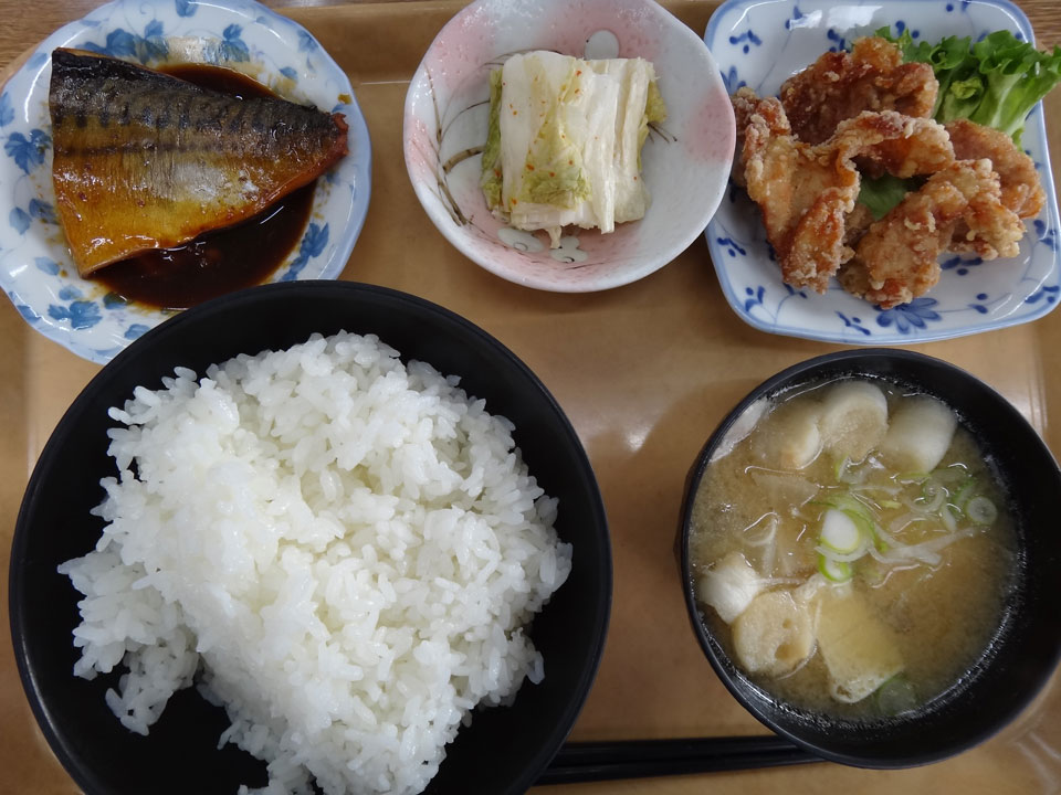 株式会社日食 今日のお昼ごはん ごはん亭はしもと 島根県松江市宍道町佐々布 国道9号線 ごはん 豚汁 鯖の煮付け 白菜の漬物 鶏の唐揚げ