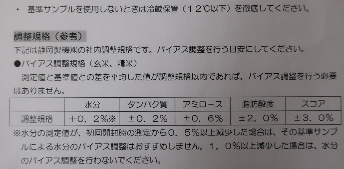 株式会社日食 静岡製機 食味分析計 TM3500 バイアス調整