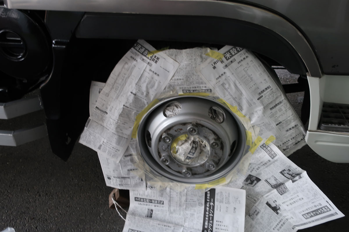 株式会社日食 タイヤローテーション ホイール 塗装 マスキング