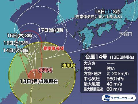 株式会社日食 台風14号 2021 進路予想
